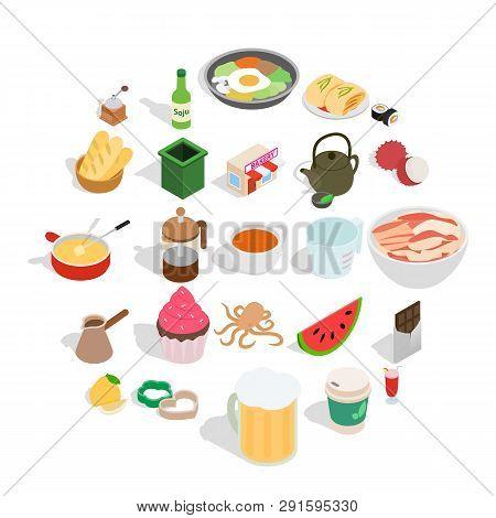 Culinary Esthete Icons Set. Isometric Set Of 25 Culinary Esthete Icons For Web Isolated On White Bac