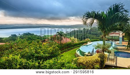 Scenic view of Lake Arenal in central Costa Rica and a lodge