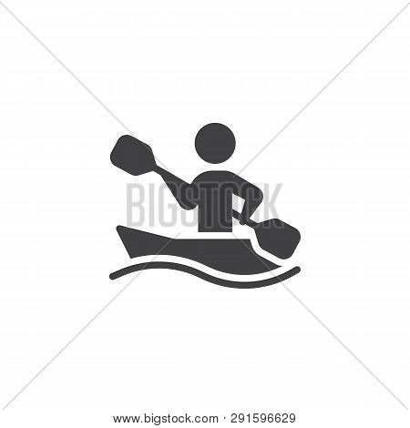 Rowing Sport Training Vector Icon. Filled Flat Sign For Mobile Concept And Web Design. Canoe Racing