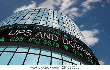 Ups and Downs Rise Fall Bear Bull Cycle Stock Market Ticker 3d Illustration