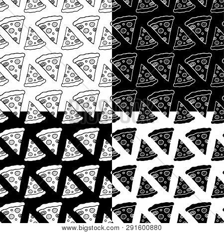 Cute Cartoon Pizza Pattern Set With Hand Drawn Pizza Slices. Sweet Vector Black And White Pizza Patt
