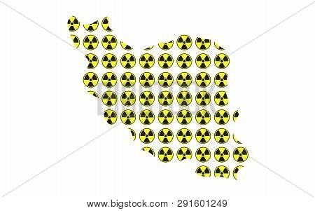 Concept Of Radioactive Map Of Iran Illustration Vector