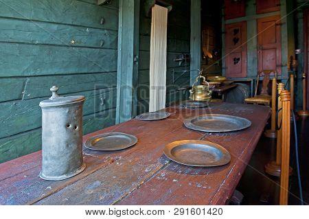 Bergen, Norway - July 20, 2018: Dining Room In Hanseatic Museum In Bergen, Norway
