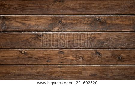 Dark Brown Wood Texture Background. Tinted Wooden Surface With Natural Pattern. Grunge Wallpaper Wit