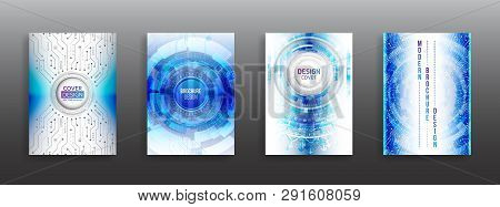 Science And Innovation Hi-tech Background. Flyer Design Of Tech Elements. Futuristic Business Cover