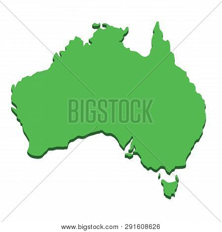 Australia Map. Silhouette Australian Continent Isolated On White Background. Geography And Cartograp