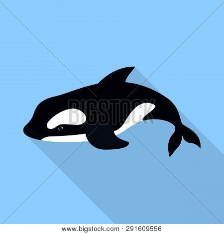 Orca Whale Icon. Flat Illustration Of Orca Whale Icon For Web Design