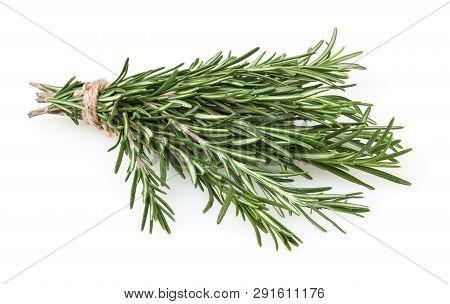 Fresh Rosemary Bunch Isolated On White Background