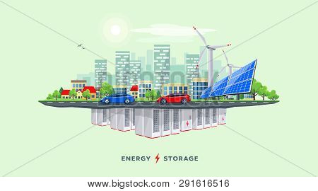 Vector Illustration Of Backup Rechargeable Lithium-ion Underground Battery Grid Storage And Renewabl