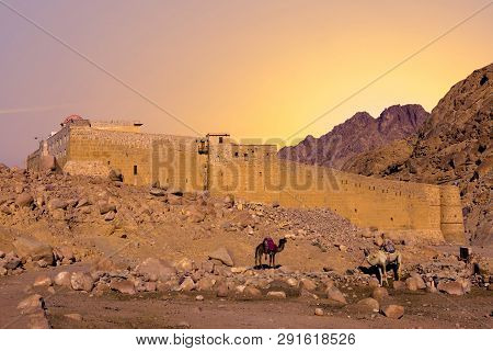 Amazing panorama of the Monastery of St. Catherine, Mount Moses, Sinai, Egypt poster