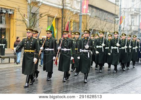 Vilnius, Lithuania - March 11, 2017: Festive Parade As Lithuania Marked The 27Th Anniversary Of Its