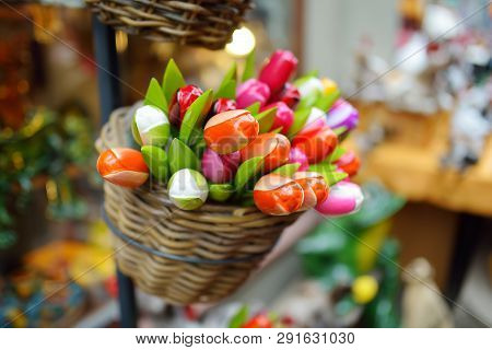 Wooden Tulips And Decorations Sold On Easter Market In Vilnius. Annual Spring Fair Hold In March On