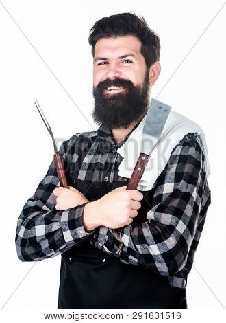 Getting A Complete Grilling Experience. Bearded Man Holding Barbecue Grilling Tools. Happy Hipster U