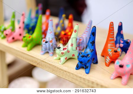 Colorful Ceramic Decorations Sold On Easter Market In Vilnius