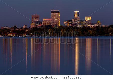 Minneapolis, Minnesota - October 16, 2015: Minneapolis Minnesota Downtown Skyline At Night Time