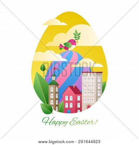 Happy Easter Greetings Illustration With Eggs And City. Colorful Spring Holidays Design With Bird An