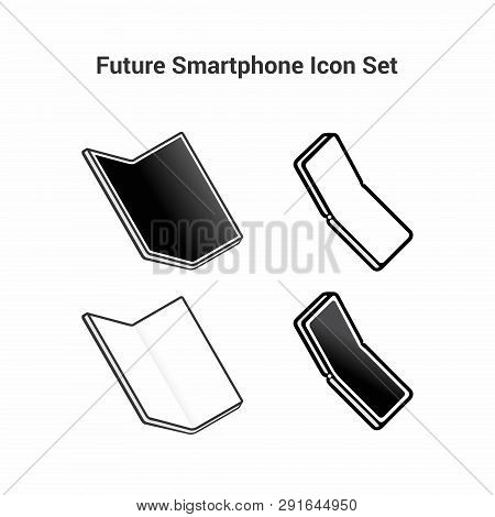 Set Of Black And White Icons On A White Background. Smart Of The Future. Folding Smartphone With A L