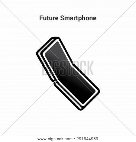 The Smart Of The Future. Black And White Icon On An Isolated Background. Folding Smartphone. Bending