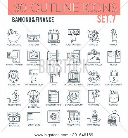 Set Of Outline Icons On Following Themes - Business, Finance, Banking, Internet Banking And Other. E