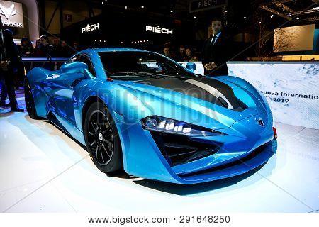 Geneva, Switzerland - March 10, 2019: Chinese Sportscar Arcfox Gt Presented At The Annual Geneva Int