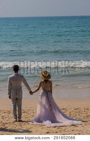 January 2019. Kamala Phuket Thailand. A View Of A Wedding Photo Shoot On Kamala Beach In Kamala Phuk