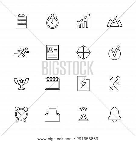 Planning Organization Outline Icons Set - Black Symbol On White Background. Planning Organization Si