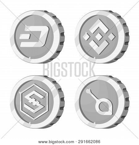 Isolated Object Of Cryptocurrency And Coin Icon. Set Of Cryptocurrency And Crypto Vector Icon For St