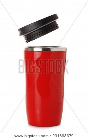 Red Thermos Cup With Lid Isolated On White