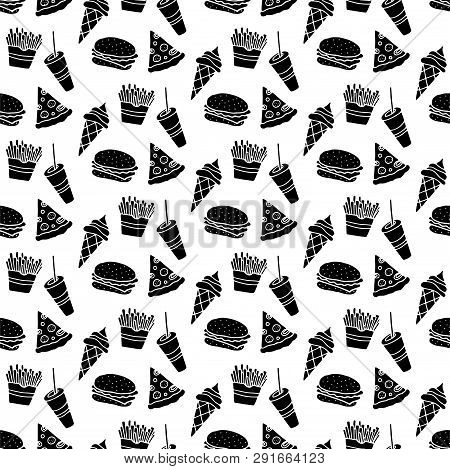 Cute Cartoon Fast Food Pattern With Hand Drawn Fast Food. Sweet Vector Black And White Fast Food Pat