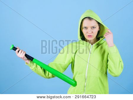 Feeling Power. Woman Play Baseball Game Or Going To Beat Someone. Girl Hooded Jacket Hold Baseball B