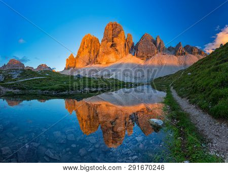 Beautiful Sunset At Tre Cime Di Lavaredo Trail In South Tyrol, Northern Italy