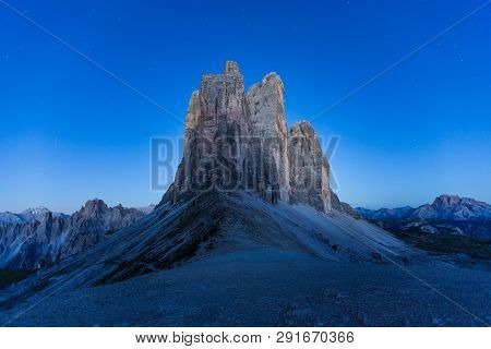 Tre Cime Di Lavaredo Trail At Night In South Tyrol, Northern Italy