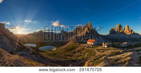 Beautiful Sunrise In Tre Cime Di Lavaredo National Park, Dolomites, Italy.