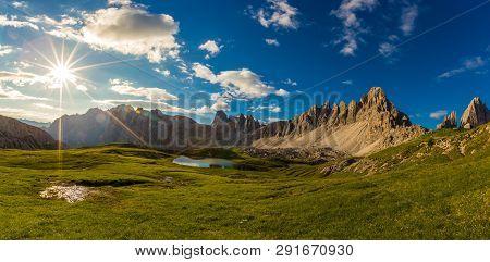 Laghi Dei Piani Lake In Tre Cime Di Lavaredo Natural Park In The Morning,