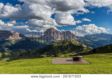Romantic Seats To See Breathtaking View Of Dolomites Landscape At Seceda Peak, Italy.
