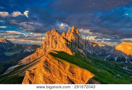 Amazing Sunset View Of Odle Mountain In Dolomites, Italy From Seceda Summit.
