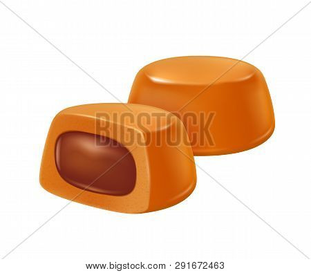 Toffee Caramel With Chocolate Filling Realistic Vector Illustration. Good For Packaging Design.