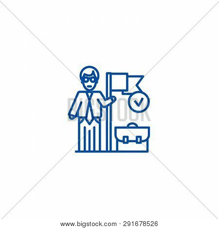 Accomplished Business Mission  Line Icon Concept. Accomplished Business Mission  Flat  Vector Symbol