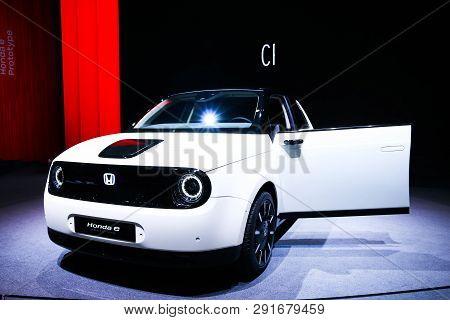Geneva, Switzerland - March 10, 2019: White Compact Car Honda E Prototype Presented At The Annual Ge