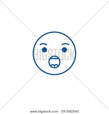 Anguished Emoji Line Icon Concept. Anguished Emoji Flat  Vector Symbol, Sign, Outline Illustration.