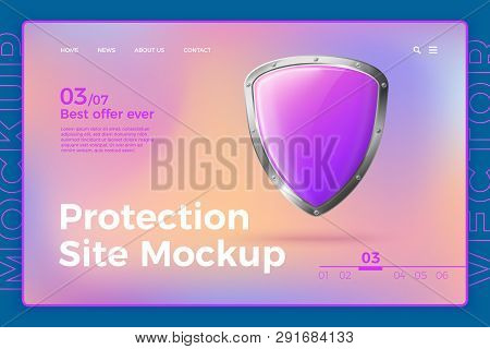 Vector Realistic 3d Protection Site Template With Shield On Bright Modern Site With Typographic Back