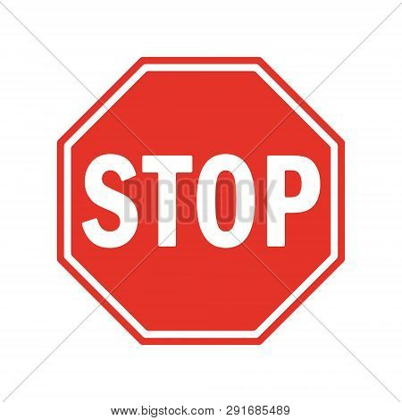 Vector Stop Sign Icon. Red Stop Sign For Your Web Site Design, Logo, App, Ui. Stop Traffic Symbol. T