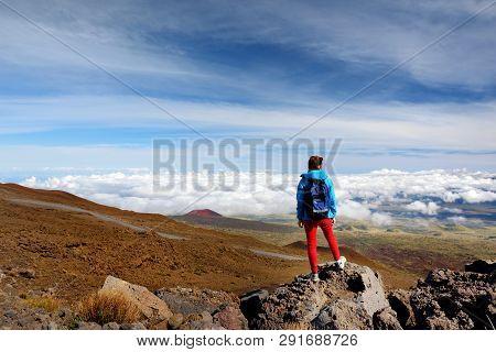 Tourist Admiring Breathtaking View Of Mauna Loa Volcano On The Big Island Of Hawaii. The Largest Sub