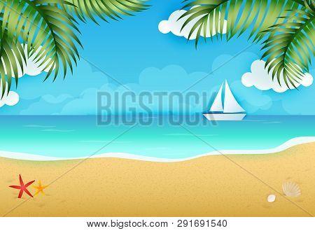 Idyllic Background Of Tropical Beach Landscape Vector Illustration. Summer Resort, Paradise, Sea. Va