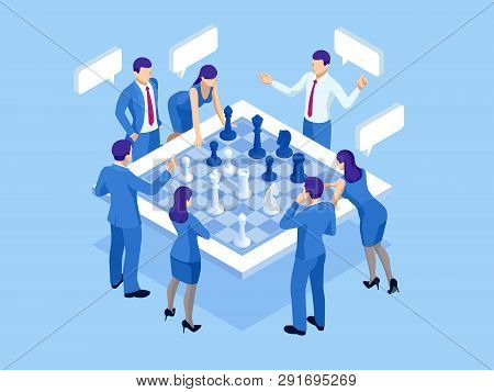 Business Strategy Concept. Isometric Businessmen And Women Playing Chess Game Reaching To Plan Strat