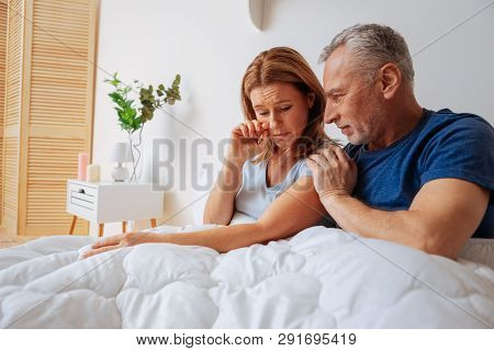 Blonde-haired Wife Feeling Sentimental After Quarrel With Husband