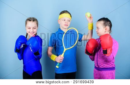 Friends Ready For Sport Training. Sporty Siblings. Child Might Excel Completely Different Sport. Gir