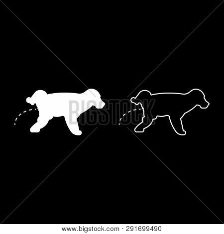 Pissing Dog Puppy Pissing Pet Pissing With Raised Leg Icon Set White Color Vector Illustration Flat