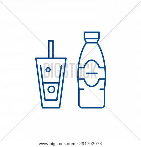 Bottle And Glass Of Mineral Water Line Icon Concept. Bottle And Glass Of Mineral Water Flat  Vector
