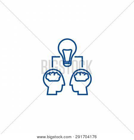 Brainstorm Illustration,  Line Icon Concept. Brainstorm Illustration,  Flat  Vector Symbol, Sign, Ou